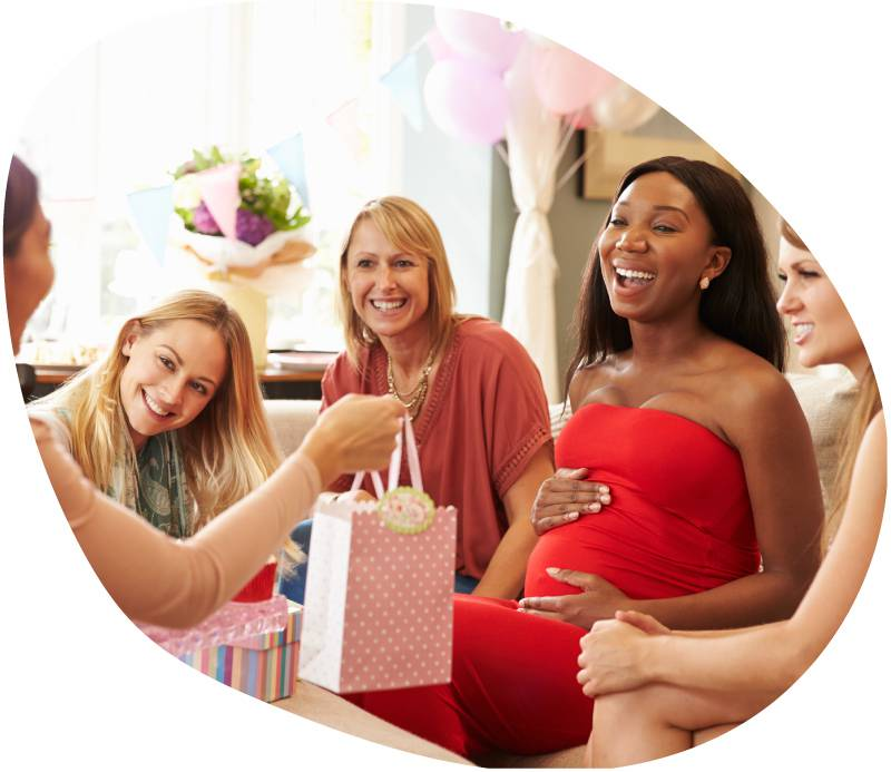 giving a gift at a baby shower